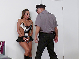 Horny cop finds that the big tits chick in boots is a dirty whore