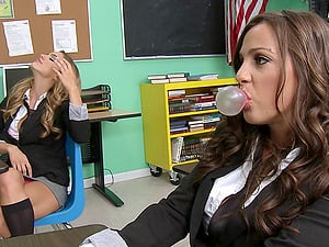 Two hot girl/girl students tempt their educator with fat fuck stick