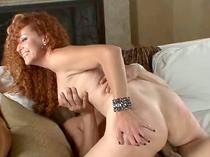 Vibrant stud caresses her titties while pumping his shaft up her rectum hard-core