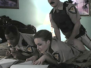 Law enforcing officers fuck accurately at the station in a reality shoot