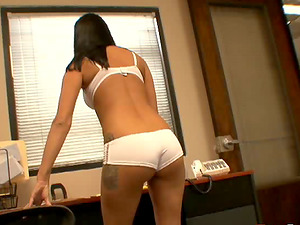 Dazzling dark-haired strips for a thorough doggystyle pounding in a reality shoot