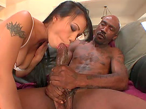 Lengthy haired black-haired gets her vagina eaten then spread with a big black jizz-shotgun