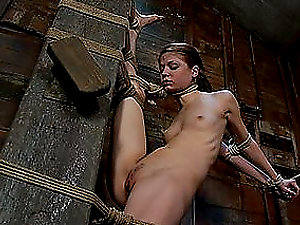 Skinny Black-haired Fucked and Frog-tied to The Max