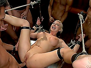 Big-boobed Blonde Biatch Tied like a hog and Fucked Hard
