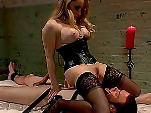 Crazy and sexy blonde bitch does whatever she want to her marionette