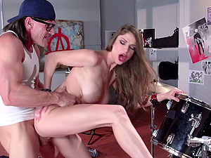 Rock honey Dillion Carter and her ideal tits in a big dick movie