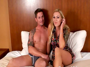A dude and a dame with tattoos hooks up and fucks in a fuck-a-thon gauze