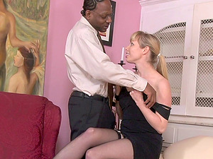 On her knees she begs for more black man sausage deep inwards her