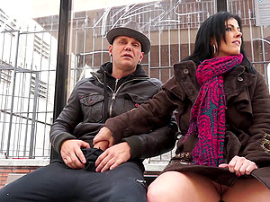Jacking dick in public gets this curvy lady all hot and bothered
