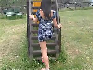 Italian dark haired exposing her beautiful feet for a foot worship
