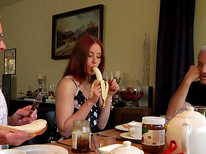 Cockslut joins two old guys for breakfast and shows them a good time