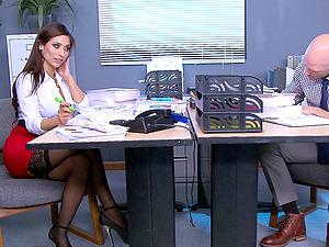 Big boobed biz honey in underwear drilled by her office mate