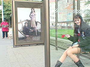 Public hook-up turns this long legged doll on and they do it all over town