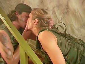 Military tart Jane Darling fucked hard by her war mate