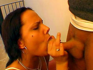 Brown-haired whores share a fellow's thick johnson for a blowage and a fuck