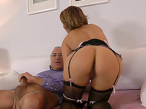 Gorgeous Mummy in black stocking gets slammed by an old fuck