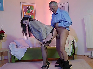 Doll clothed like a hooker is fucked like one by the old fellow