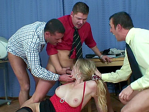 Three guys team up and triple team their trampy assistant