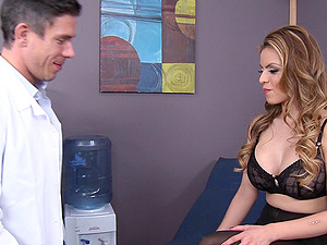 Medic inspects the asshole of his horny patient with big tits