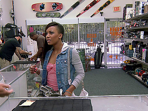 Pawn shop holder pumps his big dick into her black vagina
