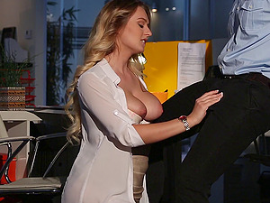 A dangled fireman puts his hosepipe inwards a nasty businesswoman