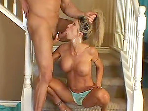 Mature sex-hungry duo is having banging date on the stairs