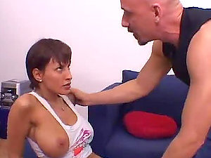 Short-haired big-boobed lady gives the best bj and fucks purrfectly