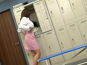 Kinky honey caught masturbating in the locker room