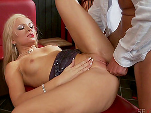 Spunk greedy blondes suck and fuck an entire group of guys