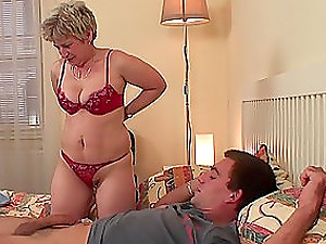 Fuck-a-thon greedy mature lady fucks her son-in-law in his bedroom