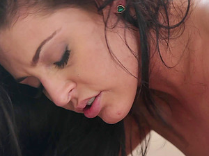 Delicious dark-haired getting her orgasmic snatch fucked