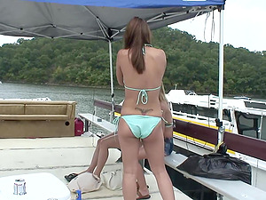 Lesbo cutie gets her vulva frigged at a wild outdoors soiree