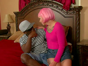 Pink haired chick with lots of tattoos is crazy for Big black cock