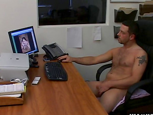 Rebecca and Michelle penalizes their masculine co-worker for violating job etiquette, masturbating in the office