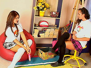 Very spunky teenager damsels whine and squeal in pleasure in their very first time lezzies hook-up