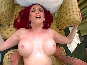 Neesa the sexy redheaded bitch bj's a hard-on and gets fucked close-ups