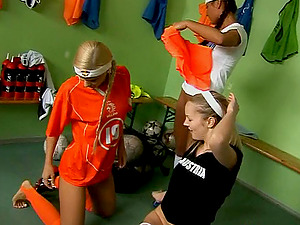 Football playing teenager honeys have a sapphic threesome
