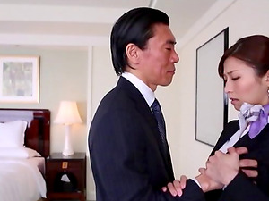 Hot Japanese stewardess gets fucked by a draped older dude
