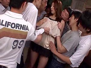 Japanese spunk whore Hina Akiyoshi perceives pleasure gel raining down