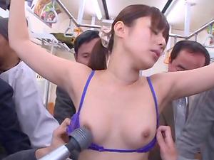 A group of guys sense up Rina Rukawa then jizz all over her