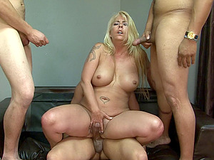 Chubby mature honey is a knob gobbling whore in a group sex