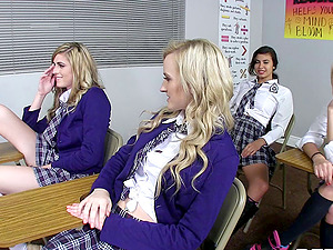 Crazy school damsels take turns on their lecturer's fat man rod hard-core