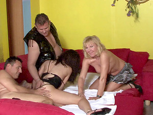 German mature stunners pounded in their pretty honeypots in a 4 way