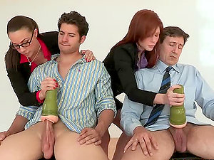 Two horny secretaries gets fucked by their chiefs