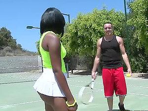 Horny dark-hued stunner having interracial bang-out after tennis game