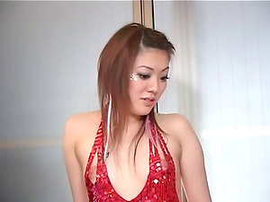 Japanese lady is so horny she rips a slot in her pants so she can fuck