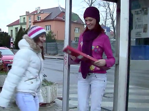 Damsels meet on the street and go home for girl-on-girl scissoring
