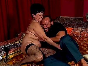 Dick loving granny in fishnet stockings still loves hard-core fuck-a-thon