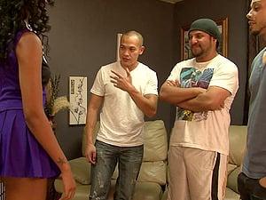 Black slum bitch with a curvy butt gets fucked by three dudes