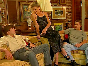 Cougar in crotchless undies get Double penetration'd by a duo of suspended guys